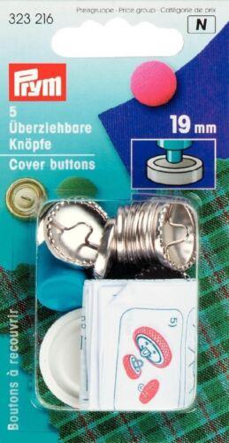 Prym 5 X 19mm cubierta de latón color plata botones con herramienta