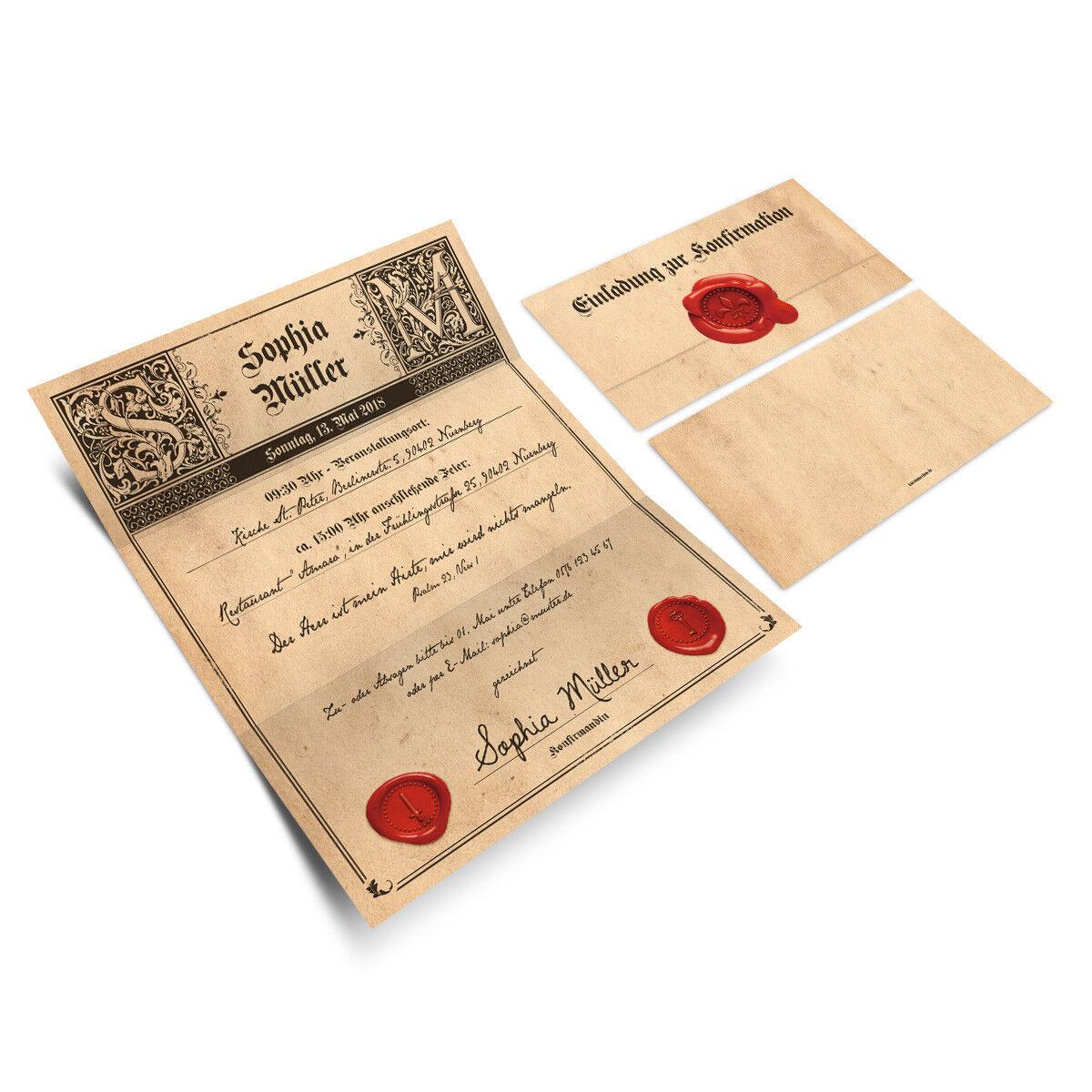 Konfirmation Einladungskarten Konfirmationseinladungen Einladungen - Siegelbrief     Der Schatz des Kindes, unser Glück    ein guter Ruf in der Welt