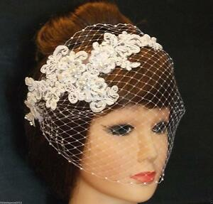 9aa15dcc85b85 White Ivory birdcage veil w Lace fascinator Diamonte Pearls Bridal ...