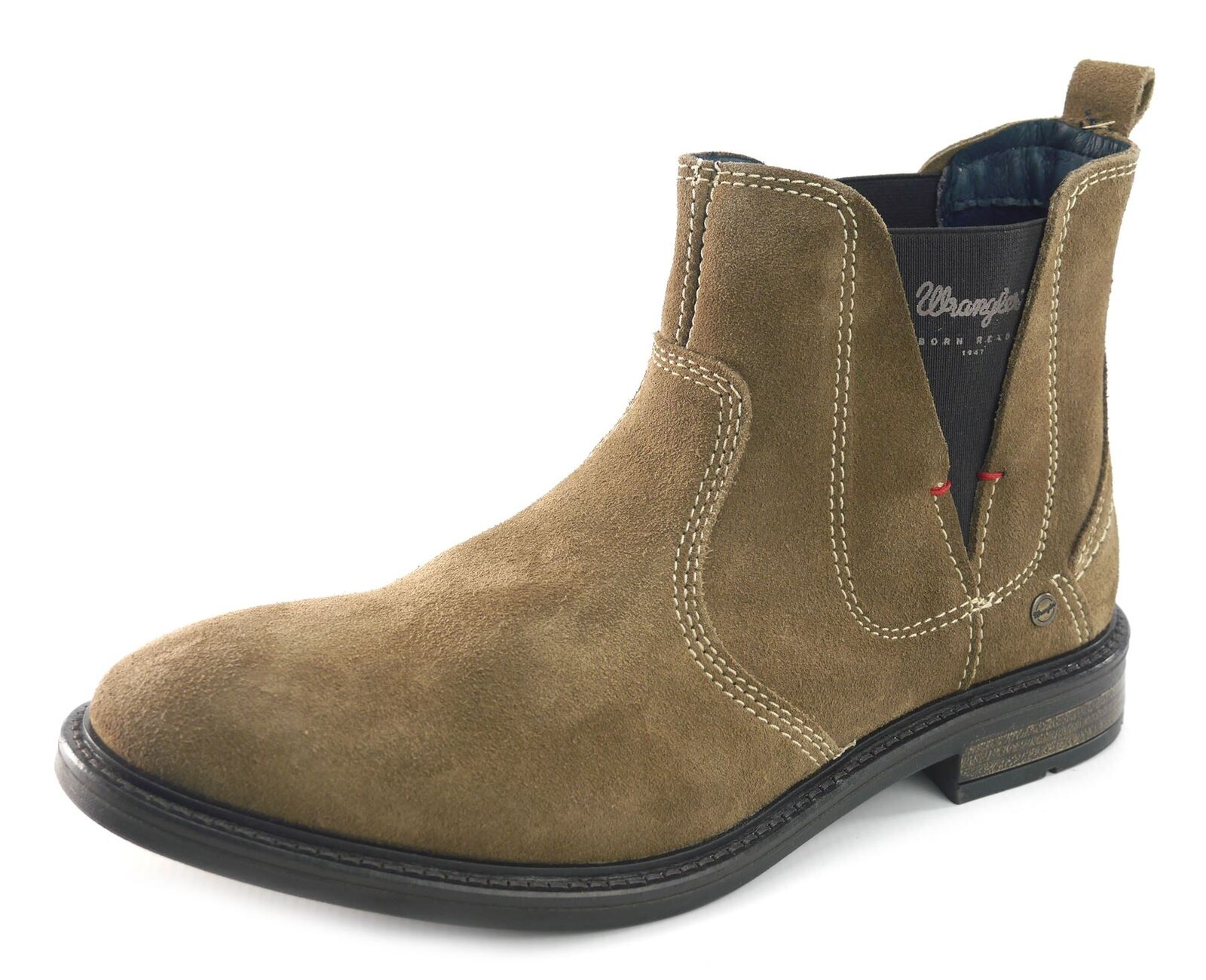 Wrangler Roll Chelsea Suede Mens Leather Pull On Stiefel Taupe