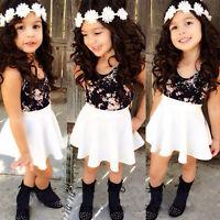 Hot Sell Kids Girls Dress T-Shirt+Skirt A-Line Dress Outfits Set Clothes 2-8Y
