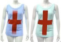 Womens size 14 to 24  England sleeveless Red cross t shirt top Blue Green ladies