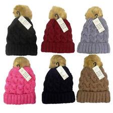 dc3903d17f5 item 3 ladies bobble hat with faux fur pom pom winter chunky knit beanie  ski-(RONS NEW -ladies bobble hat with faux fur pom pom winter chunky knit  beanie ...