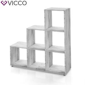 VICCO-Treppenregal-6-Faecher-Grau-Beton-Raumteiler-Stufe-Buecherregal-Aktenregal