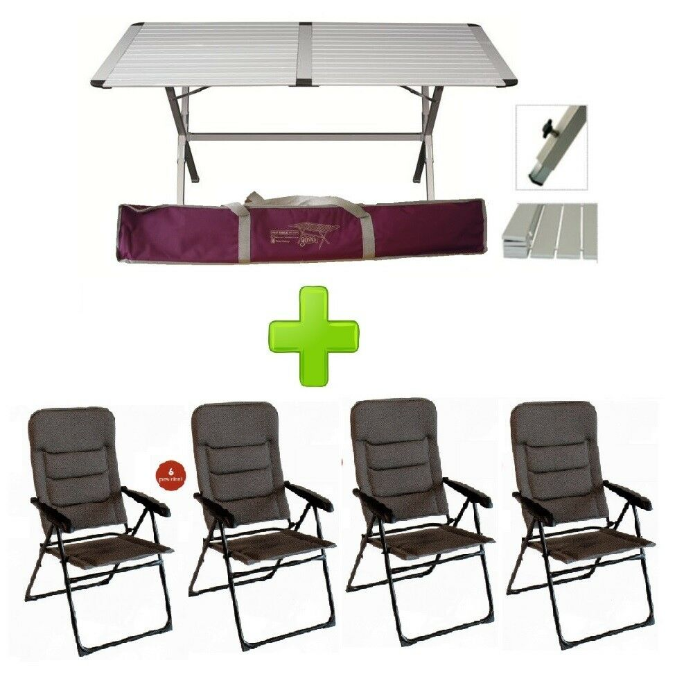 Tabelle Camping Rolladen Genius 150x80 cm mit 4 Chefsessel Onyx Multiposition