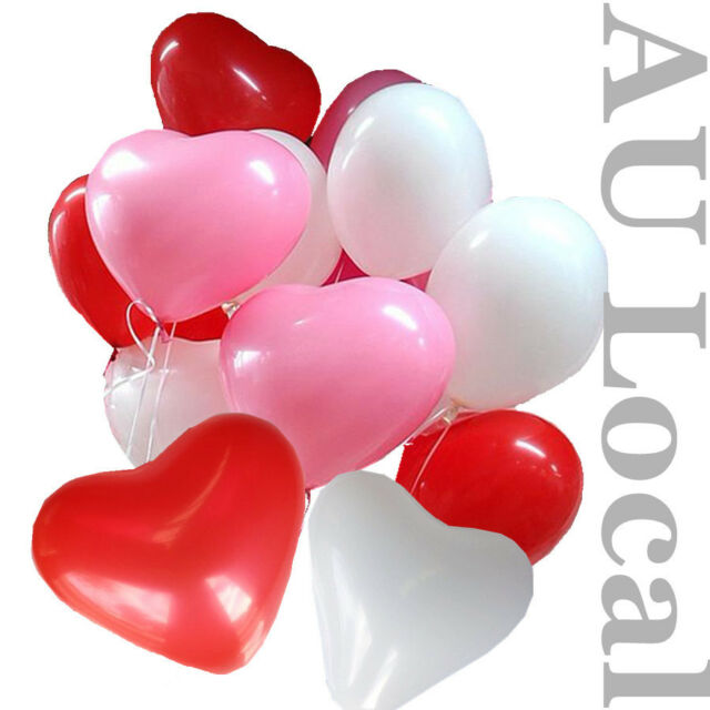 "20pcs Red Pink White Heart Shape 12"" Balloons Pack Bulk Wedding Party GBALL12"