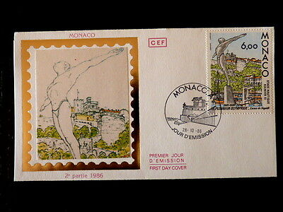Architecture Monaco Premier Jour Fdc Yvert 1549 Le Plongeur De Sigaldi 6f 1986 Relieving Rheumatism And Cold Topical Stamps