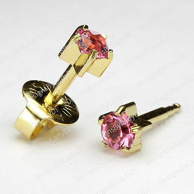 Gold And Pink October 5mm Pronged Gem Ear Piercing Earrings Studs Hypoallergenic
