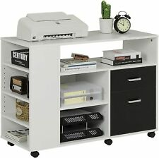 New Listing39 Home Office Wood Filing Cabinet Storage Withwheels Amp Shelves Printer Stand