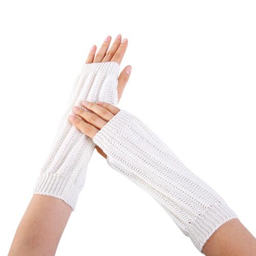 Fashion Women Winter Wrist Arm Warmer Knitted Long Fingerless Gloves Mitten New