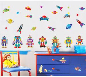 UFO-Space-Robots-Rockets-wall-stickers-Kids-Nursery-Children-039-s-Vinyl-Decal-Decor