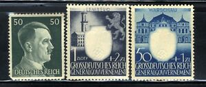 1940-45-Germany-Nazi-3-STAMP-SET-Third-Reich-Hitler-Swastika-Deutsch-WWII-MNH-OG
