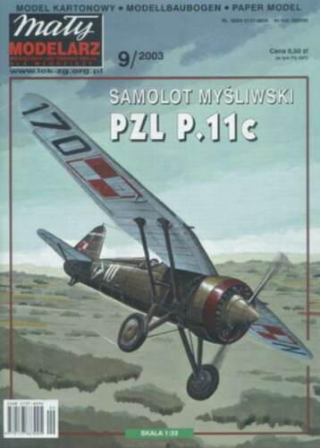Maly Modelarz  9//03  poln einmotoriges Standard Jagdflugzeug PZL P11c   1:33
