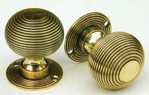 Handles  Warwick Reclamation Pair Of Antique Solid Brass Beehive Door Knobs