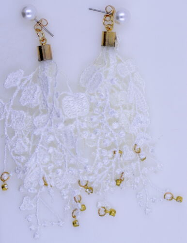 Cascade of soft cotton leaves and berries Long lace dangling earrings