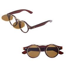 Hot Steampunk Goth Goggles Glasses Retro Flip Up Round Sunglasses Vintage Black