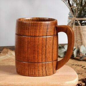 Handmade Natural Wood Beer Mug Traditional Home Office Wooden Tea Cup Coffee Cup