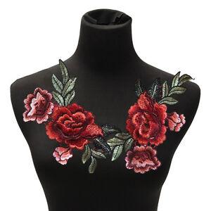 2 Unids / set parche de flores de Rose apliques bordados florales cosen en SE
