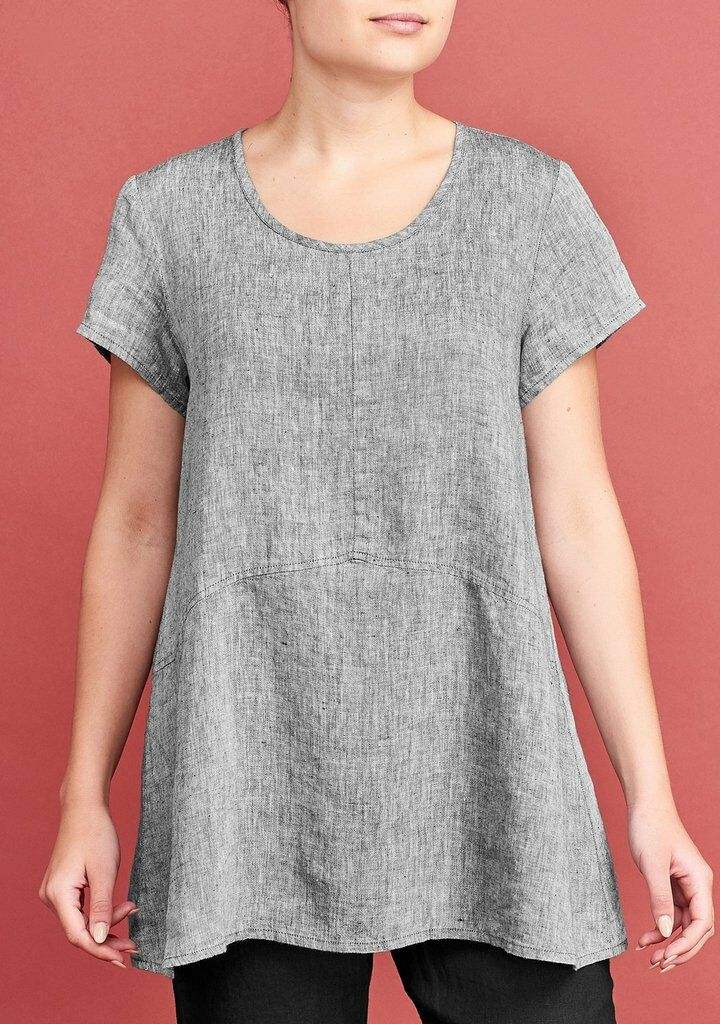 Flax Designs chemise lin Tee M Neuf Avec Étiquettes 2018 neutre plus simple TEE Charbon