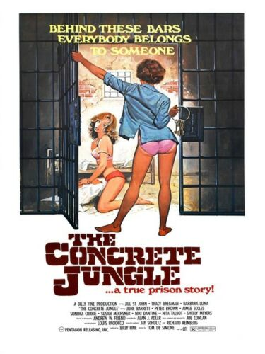 Vintage movie advertising Reproduction poster Wall art. Concrete Jungle