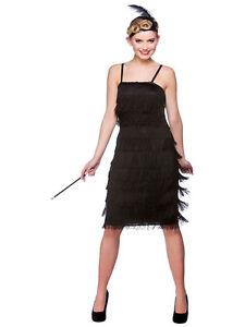 Detalles De Señoras Negras Aleta Disfraces 20s 30s Charleston Jazz Jazz Vestido De Fantasía Traje Ver Título Original