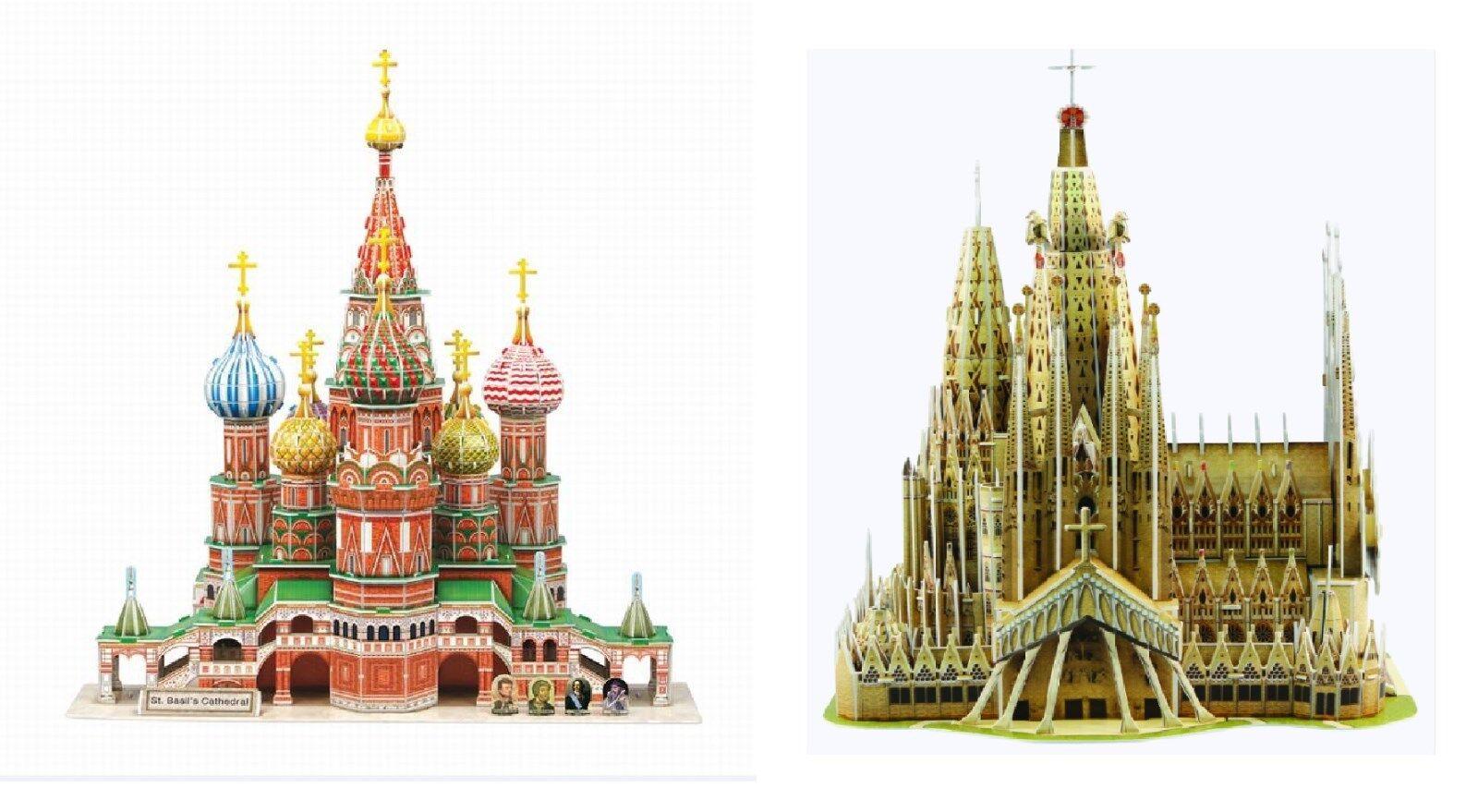 2 pcs 3d - puzzles st. die firma ba lis kathedrale sagrada familia basilika bildung diy +
