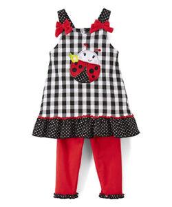 NWT Nannette Girls Ladybug Black White Plaid Ruffle Tunic Red Leggings Outfit