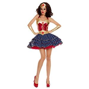 Wonder Woman Retro Pinup Comic Justice League Costume Dress Crown Gauntlets Ebay