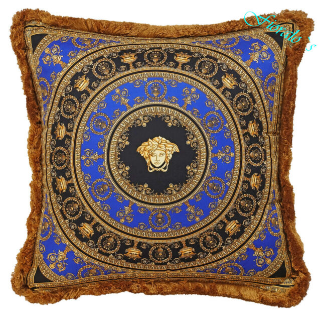 Cool Versace Medusa Baroque Pillow 19 7 Silk Blue Black Gold Home Interior And Landscaping Dextoversignezvosmurscom