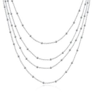 Lady-039-s-925-Sterling-Silver-Filled-Small-Ball-Beads-Charm-Necklace-20-034-Stunning