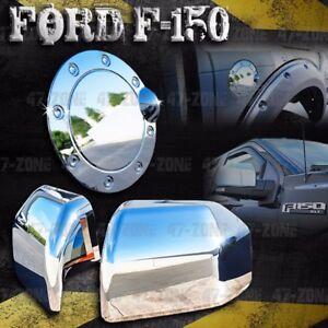 For Ford F150 Polished Chrome Side Mirror Fuel Gas Door Cover Set Overlay Trim