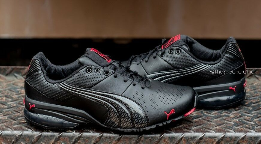 PUMA CELL HIRO TLS MENS RUNNING SHOES BLACK JESTER RED 186648 08