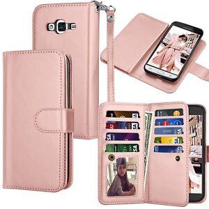 For Samsung Galaxy Sky 2016 J3 V PU Leather Wallet Case Card Holder Flip Cover