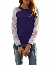 NEW ZANZEA Women's Sexy Casual Lace Long Sleeve Crew Neck Blouse - UK14-16