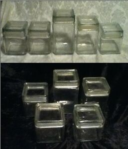 VINTAGE-5-piece-Set-Square-Refrigerator-Ice-Box-Storage-Glass-Seal-Canister