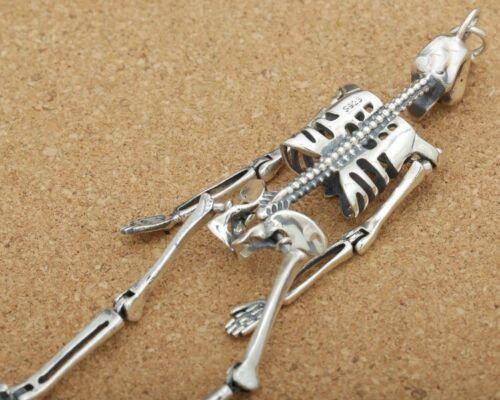925 Sterling Silver Skull Movable Skeleton Biker Gothic Pendant charm tag S2793