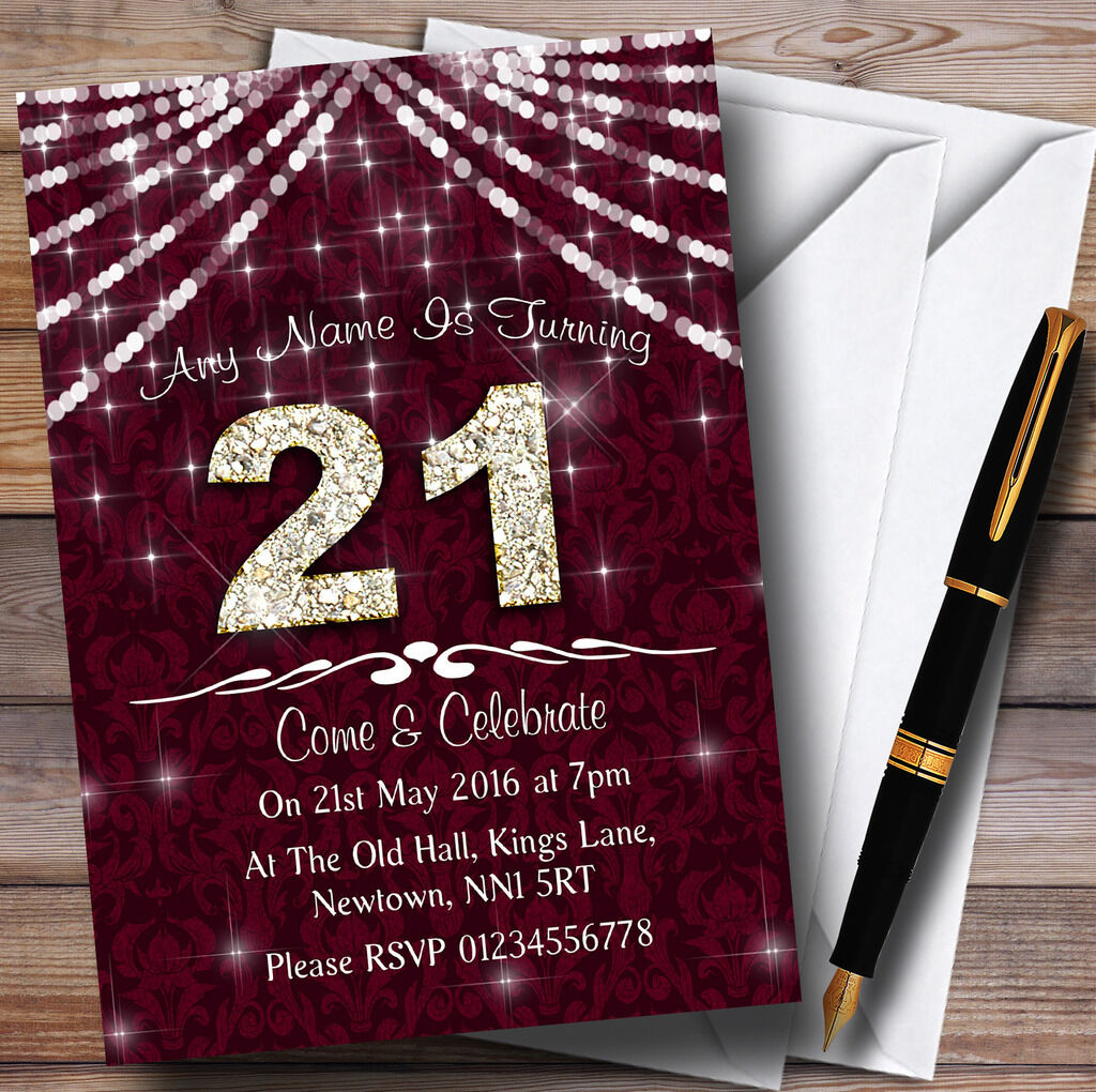 21 birthday Claret & Blanc Bling Sparkle birthday 21 party invitations personnalisées f9d1e9