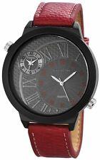 XXL Dual Timer Herrenuhr Grau Rot Schwarz Analog Leder D-60412119448795