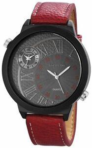 XXL-Dual-Timer-Herrenuhr-Grau-Rot-Schwarz-Analog-Leder-D-60412119448795