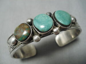 HENRY-SMITH-VINTAGE-NAVAJO-ROYSTON-TURQUOISE-STERLING-SILVER-BRACELET