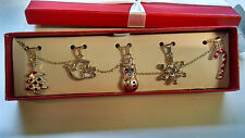 FREE SHIPPING NIB AVON Jewelry Christmas Charm Necklace Set Gift Box Silvertone