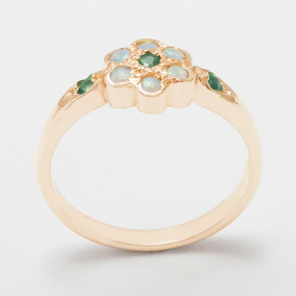 Solid 14k pink gold Natural Emerald & Opal Womens Cluster Ring - Sizes 4 to 12