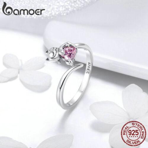 Bamoer S925 Solide Sterling Silver Finger Open Ring adorable chat Femmes Bijoux