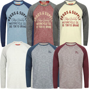 New-Tokyo-Laundry-Mens-Crew-Neck-Cotton-Blend-Long-Contrast-Sleeve-Top-Size-S-XL