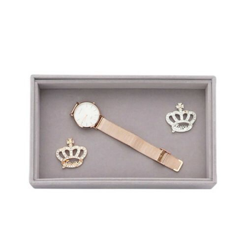 Jewelry Box Storage Organizer Soft Velvet Earring Necklace Bracelet Display Tray