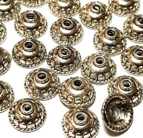 30 Tono Plata Tibetana Estilo 10mm redondo del grano Tapas hallazgos fabricación de joyas