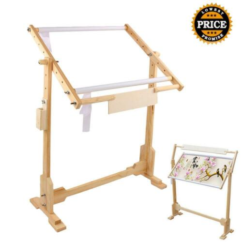 5 Level Adjust Cross Stitch Frame Floor Stand Wooden Embroidery Tapestry Hoops