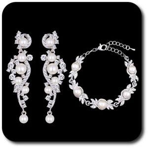 Luxus Schmuckset Armband Xxl Ohrringe Silber/klar Strass Perlen Braut Hochzeit
