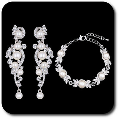 Warnen Luxus Schmuckset Armband Xxl Ohrringe Silber/klar Strass Perlen Braut Hochzeit