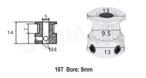 GT2-16T//20T Timing poulie 3.17-8mm alésage 6 mm Ceinture Largeur pour Imprimante 3D Reprap